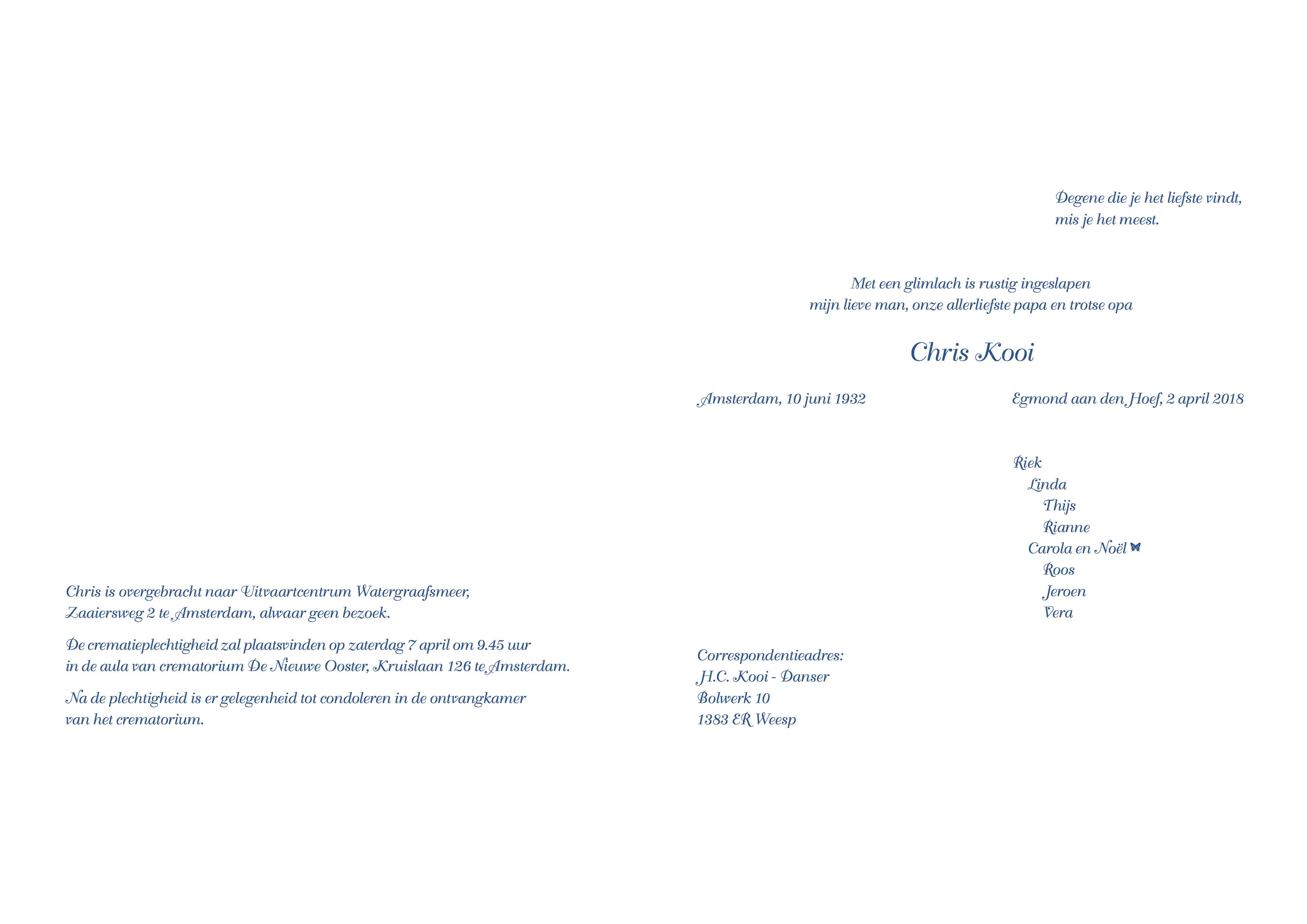 rouwkaart de heer Kooi 02