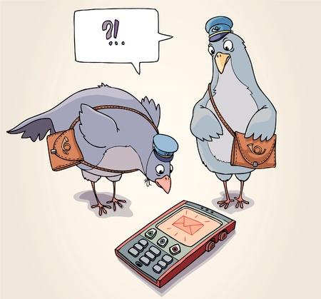 -twee-postduiven-zijn-verwondering-naar-de-sms-te-ontvangen-